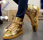 Trendy Mens Leisure Lace Up Buckles Hip Hop High Top Sneakers Flat Punk Shoes
