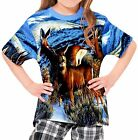 Deer In Winter Girl's Kid Youth T-Shirts Tee Age 3-13