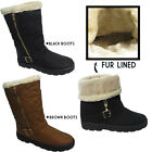 WOMENS LADIES FUR LINED QUILTED WINTER GRIP SOLE ANKLE CALF BOOTS SHOES SIZE 3-8
