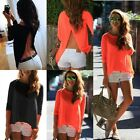 Women Loose Casual Chiffon Backless Vest Shirt Tops Blouse Ladies Top Size 8-20