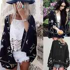 Womens Blouse Printed Summer Coat Shawl Kimono Cardigan Cover Up Cape Shirt Tops