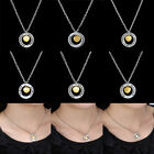 New Chain Circle Mom Sister Gold Tone Heart Women Necklace Pendant Charm Jewelry