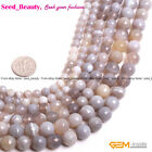 """Natural Gemstone Stripe Grey Gray Agate Stone Jewlery Making Beads 15"""" Faceted"""