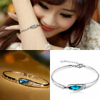 Fashion Girl Crystal  Silver Plated Chain Bangle Cuff  Charm Bracelet Jewel Gift