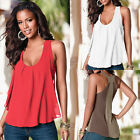Summer Chiffon Sleeveless Blouse Ladies Loose Casual Vest Tank Tops Red White