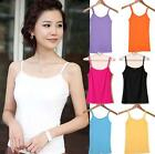 NEW WOMENS PLAIN BRIGHT STRETCHY LADIES RIBBED VEST TOP T SHIRT RIB STRAP SIZES