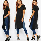 New Women's Short Sleeve Loose Maxi High Split Side Long Tops Slit Tunic Shirts