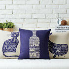 Fresh Alphabet Cartoon Cat Pillow Case Sofa Decor Cushion Cover Square Linen 17""