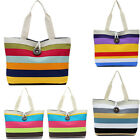 Fashion Lady Colored Strip Shopping Handbag Women Shoulder Canvas Bag Tote Purse