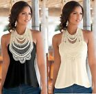 NEW SEXY women Casual sleeveless Shirt Tops Blouse Slim lace shirt pullover vest