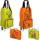 Folding Shopping Trolley Bag Large With Wheels On Reusable Orange Dog Green Cat
