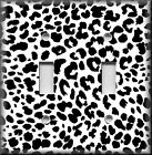 Black White Leopard Print - Light Switch Plate Cover - Home Decor Animal Print