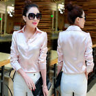 sexy female satin silk T shirt OL solid long sleeve tops blouse button suits