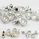 100X Round Gold/Silver Crystal Clear Rhinestone Buttons 13mm Sewing Shank Button