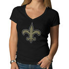 New Orleans Saints 47 Brand Women Black Soft Cotton V-Neck Scrum T-Shirt