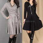 Womens Spring Autumn Cross V-Neck Long Sleeve Sexy Slim Party Cocktail Dress