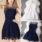 Women Sexy Lace Crochet Sleeveless Casual Cocktail Party Evening Mini Dress
