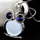 Hot 3 Colors New Owl Rhinestone Crystal Necklaces Classic Long Necklace Jewel