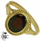 BJC® 9ct Yellow gold Garnet 1.00ct Oval Solitaire Band Ring size M ring R134