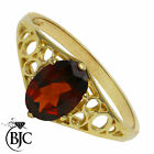 BJC® 9ct Yellow gold Garnet 0.50ct Oval Solitaire Band Ring size Q ring R135