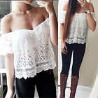 CHIC Fashion Women Off Shoulder Casual Tops Blouse Lace Sexy Floral T Shirt