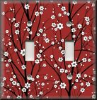 Floral Home Decor - Light Switch Plate Cover - Cherry Blossoms On Red - Flowers