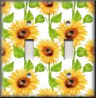 Floral Home Decor - Light Switch Plate Cover - Sunflowers On White - Flowers