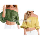 Women Lady Yellow Green Romantic Short Sleeve Frill Crop Tops Blouses Shirts SF