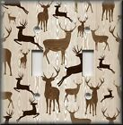 Light Switch Plate Cover - Rustic Wood Grain Deer - Cabin Home Decor Brown