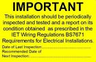 Periodic Electrical Installation Test Stickers BS7671 2015 - NO Contact details