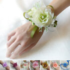 New Bridal Wrist Corsage Girl Wedding Prom Hand Artificial Silk Flowers Bracelet