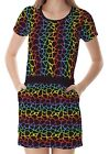 Multicolour Rainbow Giraffe Women's Clothing Top Dress With Pockets