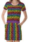 Multicolour Rainbow Leopard Women's Clothing Top Dress With Pockets