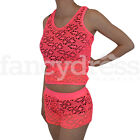 Neon Pink Mesh Top Shirt Shorts Bikini Cover Up Beachwear Summer Swimsuit NEW