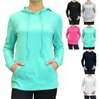 Solid Long Sleeve Drawstring Pull Over Hoodie Front Kangaroo Pocket Casual S M L