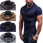 Cool Mens Slim Fit Short Sleeve Muscle Hoodie T-shirts Tee Tops Casual Shirts