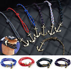 Multilayer Leather Cuff Wristband Anchor Handmade PUNK Bracelet Unisex Gifts