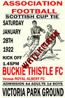 BUCKIE THISTLE - VINTAGE 1920's STYLE MATCH POSTER