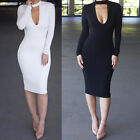 Women Sexy Long Sleeve Autumn Club Evening Party Casual Bandage Bodycon Dress