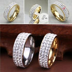 New Three Rows Crystal Rhinestone Titanium Steel Ring Finger Rings For Women Men