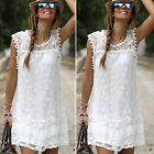 Women's Summer Beach Lace Mini Dress Casual Sleeveless Party Sundress Plus Size