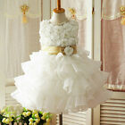 Kids Gold White Christening Flower Girls Party Dresses AGE 1,2,3,4,5,6,8,10,12Y