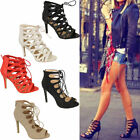 Ladies Womens Lace Up High Heel Peep Toe Gladiator Tie Up Ankle Sandals Shoes