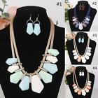 New Fashion Chain Choker Bib Statement Necklace and Earring Set for Wedding