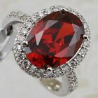 Size 5 6 7 8 9 Gorgeous Awesome Garnet Red Oval Jewelry Gold Filled Ring R2410