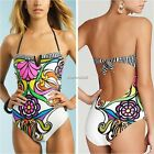 Women Beach Halterneck Floral Monokini Padded Swimwear Bathing Suit Push Up