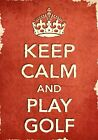 ACR1 Vintage Style Red Keep Calm And Play Golf Sport Funny Poster Print A2/A3/A4