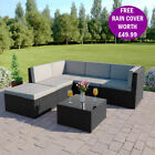 Black Grey Corner Modular Rattan Weave Sofa Set Garden Furniture FREE COVER
