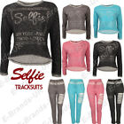Ladies SELFIE sweatshirt  jumper Loungewear Jogger Diamante Crop Top Tracksuit