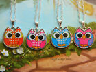 WISE OWL CHARM NECKLACE PENDANT PINK BLUE RED GINGHAM CUTE KITSCH
